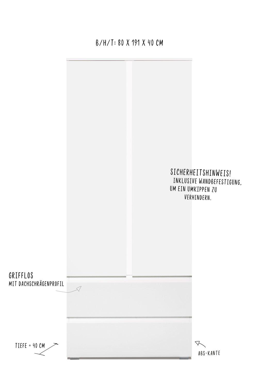 80cm breit Griffloser zweit/üriger Aufbewahrungsschrank 190 cm hoch lifestyle4living Mehrzweckschrank wei/ß 2 t/ürig 40 cm tief 2 Schubladen /& 3 Einlegeb/öden