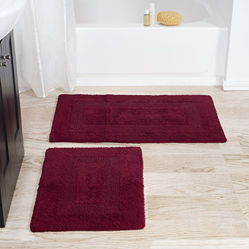 Burgundy Bath - Cotton Bath Mat Set- 2 Piece 100 Percent Cotton Mats- Reversible, Soft, Absorbent and Machine Washable Bathroom Rugs By Lavish Home (Burgundy)