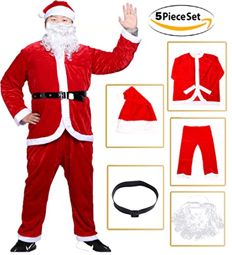 Christmas Santa Claus Costume Deluxe Santa Suit Christmas Onesie Set, 5Pieces (Santa Suits Deluxe)
