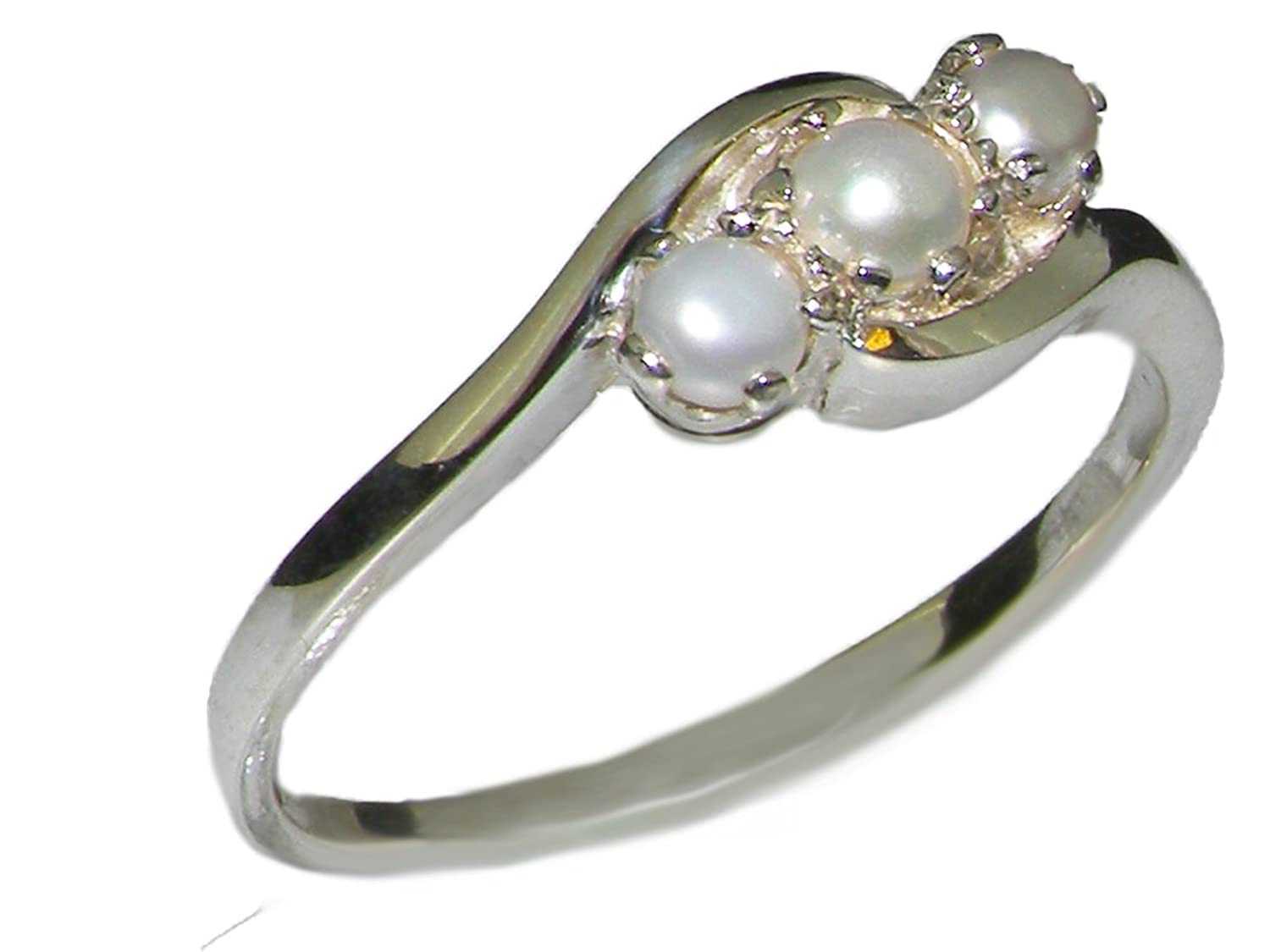 925 Sterling Silver Cultured Pearl Womens Trilogy Ring - Sizes 4 to 12 Available