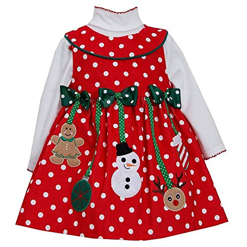 Little Girls 2T-6X Red/White Polka Dot Holiday Ornament Corduroy Jumper Dress (4T, Red)