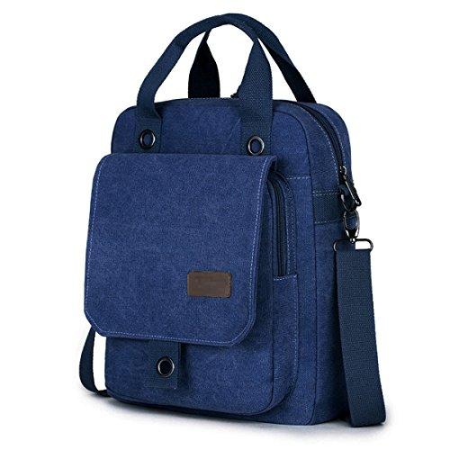 Boy Maletín Lienzo Bolsa Laptop Satchel Cremallera Vintage Bag Hombres Crossbody Hombro Messenger Mochila Con Casual Viajes Blue f0qpn1