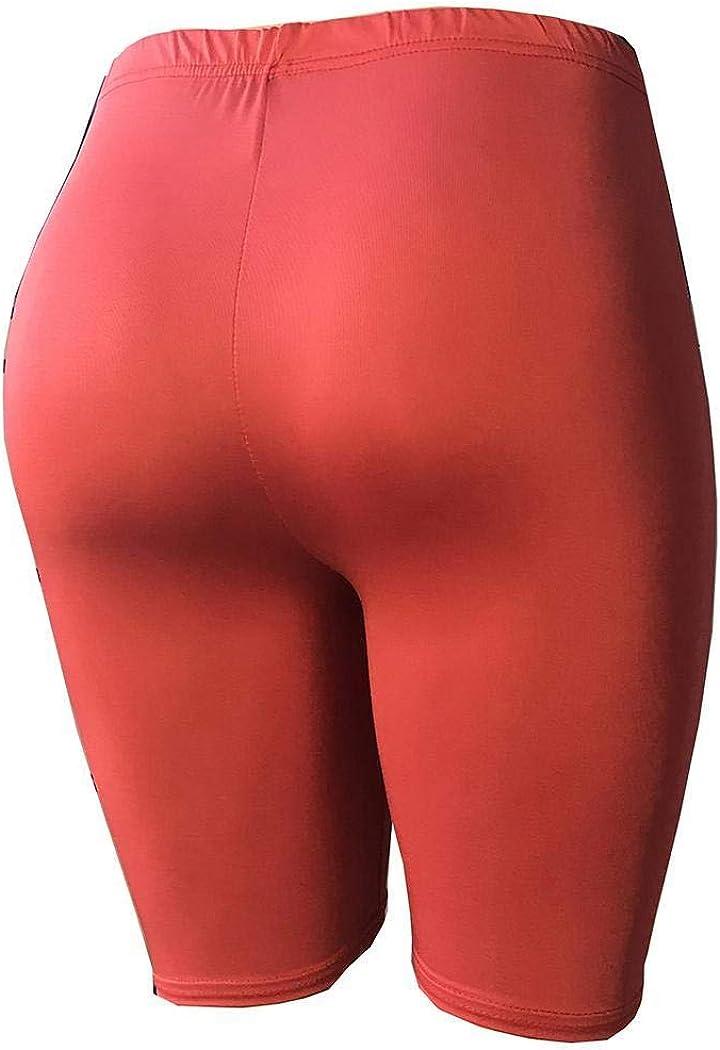 oineke Women Casual Solid Elastic Waist Knee Length Leggings Leggings