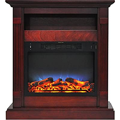 Cambridge CAM3437-1CHRLED Sienna 34 in. Electric Fireplace w/Multi-Color LED Insert and Cherry Mantel