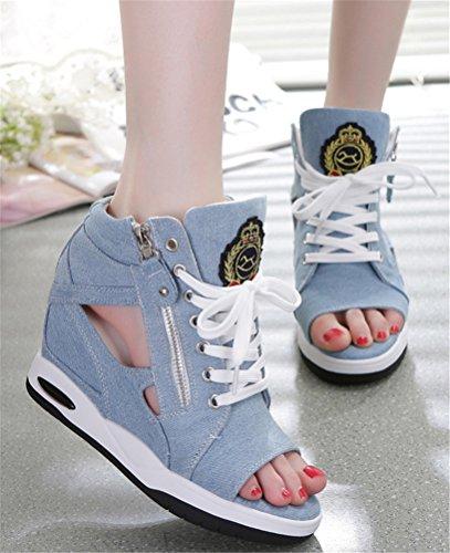 Ace Choc Jeans Wedges Sandales Femmes, Cachés Talon Peep-toe Été Toile Espadrilles 4 Couleurs Bleu Pâle