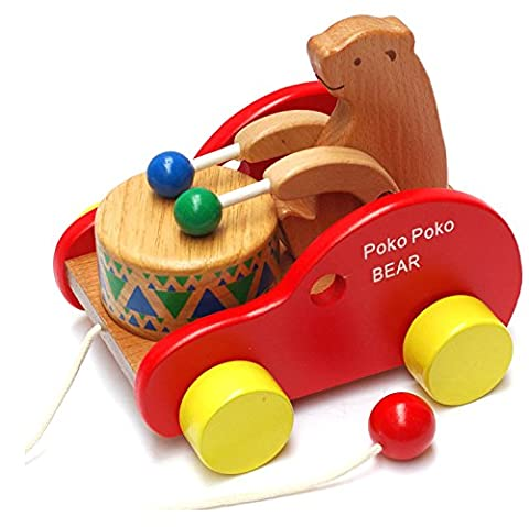 Frealm Walker Toy Walk-A-Long Wooden Push Pull Toy Bear Knock the Drum Walking Toys for Baby Toddlers Kids