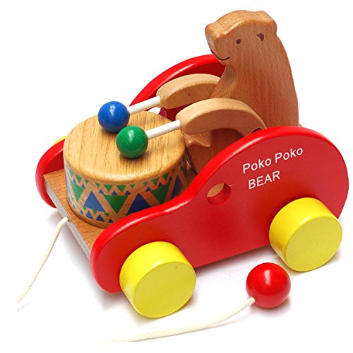 Frealm-Bear-Knock-the-Drum-Walk-A-Long-Wooden-Push-and-Pull-Toy-for-Baby-Toddlers-Kids