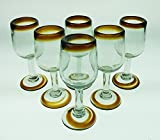 Mexican Glass, Wine, Hand Blown, Amber Rim (Set of 6)
