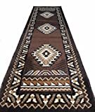 Rugs 4 Less Collection Southwest Native American Indian Runner Area Rug Design R4L 143 Chocolate / Brown (2'X7')