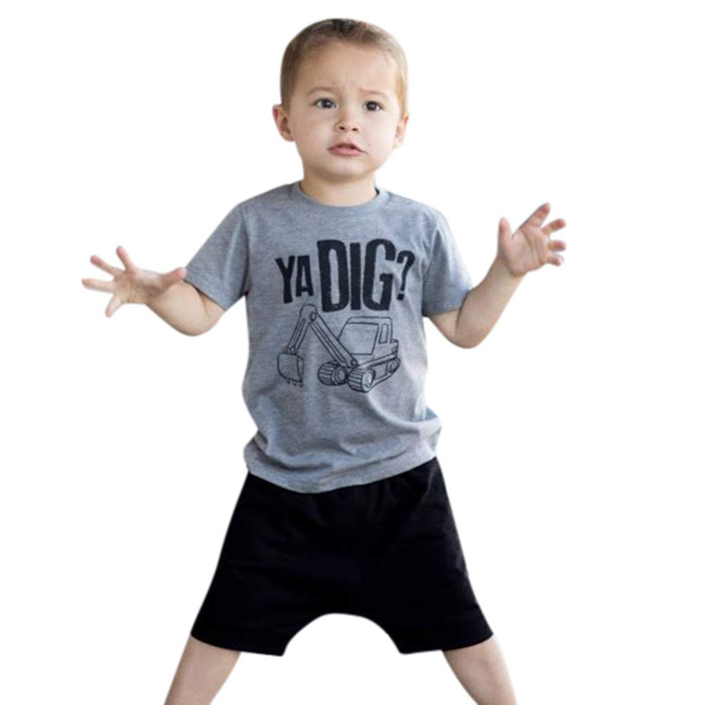 NUWFOR Toddler Kids Baby Boy Letter Outfits Short Sleeve T-Shirt Top+Pants Clothes Set(Gray,2-3 Years)