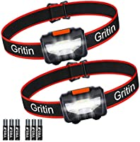 LED Head Torch, [2 Pack] Gritin COB Headlamp Super Bright Headlight, Adjustable with 3 Modes, Lightweight for Running,...