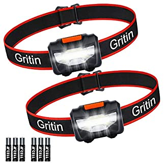 LED Head Torch, [2 Pack] Gritin COB Headlamp Super Bright Headlight, Adjustable with 3 Modes, Lightweight for Running… 1