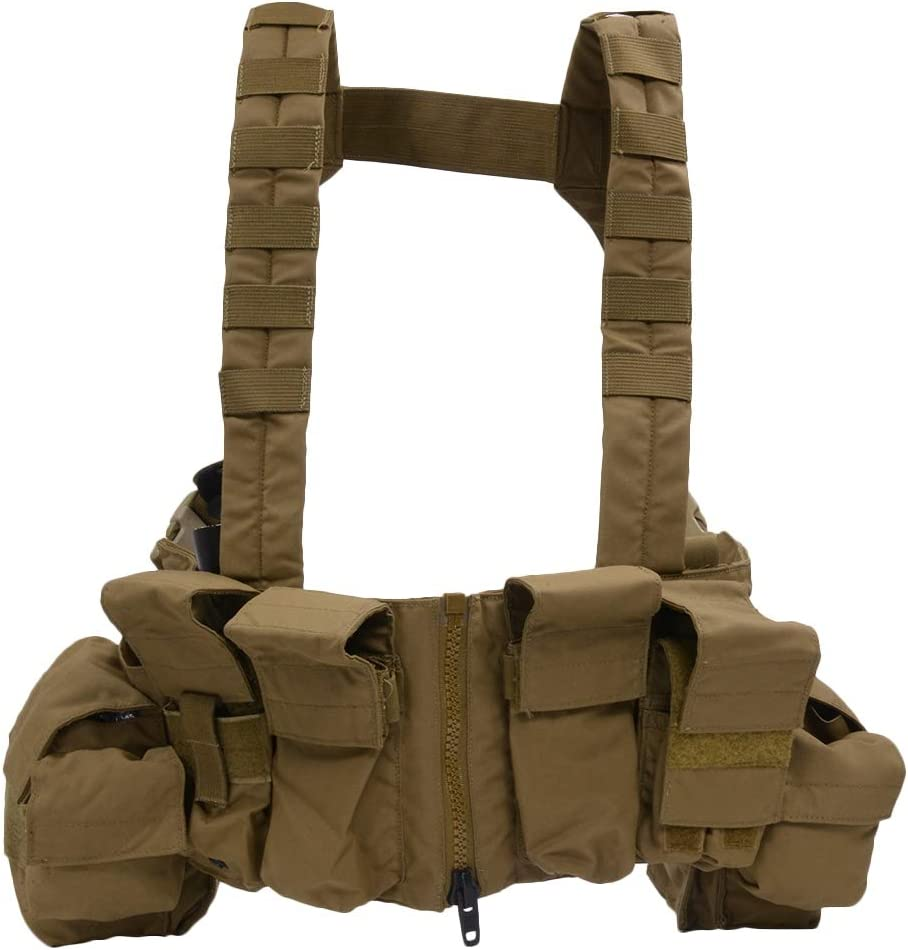 This is an image of the LBX TACTICAL Lock & Load Chest Rig, coyote brown color,, with seven inch zippered split front closure.