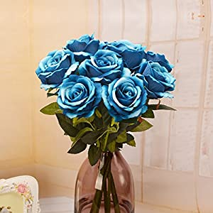 Louiesya Artificial Flowers Fake Flowers Bouquet Silk Roses Real Touch for Home Garden Party Floral Decor 6 Pcs Bridal Wedding Bouquet(Blue) 4