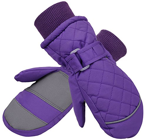(Livingston Girls' Waterproof Long Cuff Snow Gloves Sports Ski Mittens w/Thinsulate Lined, Purple,S)