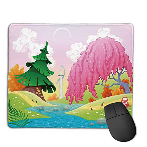 Mouse Pad Non-Slip Thick Rubber Large MousepadCartoon,Fantasy Landscape with Unusual Trees Riverside Drawing Spring Summer Season Print Decorative,Multicolor,Suitable for Notebook Desktop ()