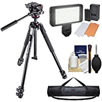 Manfrotto 190X 67 3-Section Aluminum Video Tripod & MHXPRO-2W Fluid Head with Case + LED Light Set + Kit