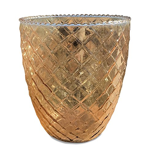 Whole House Worlds The Farmer's Market Amber Wind Light, Candle Holder, Tapered Vase, Rustic Golden Brown Tones, Iridescent Highlights, Pressed Glass, 5 Inches Tall, By WHW (Glass Bud Pressed Vase)