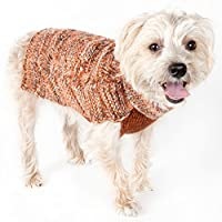 PET LIFE 'Royal Bark' Heavy Cable Knitted Designer Fashion Pet Dog Sweater, Medium, Light Brown, Tangerine and Grey