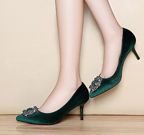 KHSKX High Spring Heel Of Shoes Women Heeled Light Tip Singles Break Single High The Green 7Cm The Shoes The Girl Shoe Women'S The With 34 Fine rqEfr