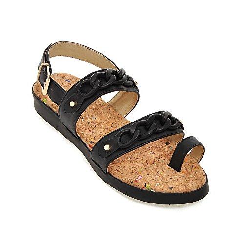 Soft Buckle Material Black Toe Open Sandals Heels WeenFashion Low Solid Women's EaqwA4