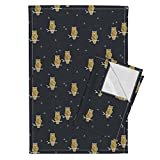 Owls Geometric Animals Geometric Woodland Golden Birds Night Woods Birds Navy Sunny Afternoon Tea Towels Owls - Geometric Woodland by Sunny Afternoon Set of 2 Linen Cotton Tea Towels