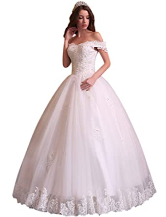 5c2ab23552c Andybridal 2018 Ball Gown Sexy Off Shoulder Appliques Bead Lace Wedding  Dress at Amazon Women s Clothing store
