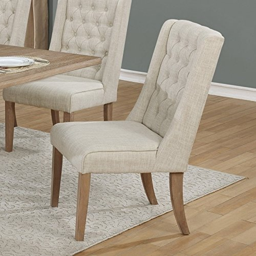 Overstock Furniture Beige Linen Upholstered Dining Side Chair Single