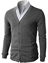 Mens Casual Slim Fit Basic Designed Long Sleeve V-Neck Front Button Cardigan