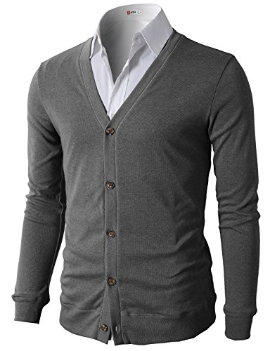 H2H Men's Basic Solid Button Cardigan Gray US M/Asia L (CMOCAL012) by H2H
