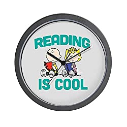 CafePress Charlie & Sally Brown-Reading is Cool Unique Decorative 10 Wall Clock