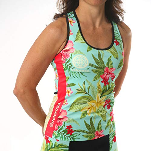 Velorosa Women's T-Back Tank Top with Pockets - Sunseeker Active Sleeveless Shirt with Floral Print (Medium)