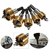PANOVOS 5pcs Power Drill Tools Set High Speed Steel HSS Drill Bit Hole Saw Set Stainless Steel Metal Alloy Kit 16mm/18mm/20mm/25mm/30mm