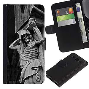 Protector de cuero de la PU de la cubierta del estilo de la carpeta del tirón BY RAYDREAMMM - Samsung Galaxy S3 III I9300 - Piedra Esqueleto