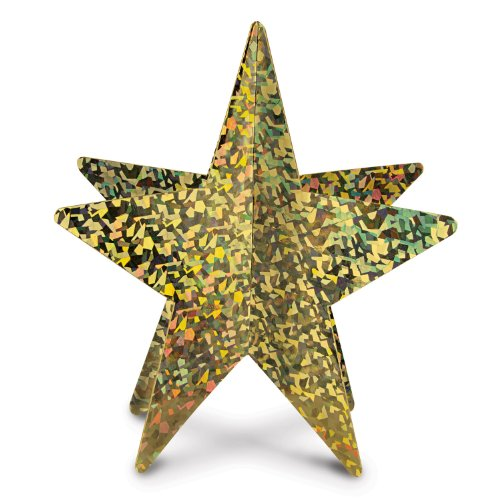 Beistle 1-Pack 3-Dimensional Prismatic Star Centerpiece, 12-Inch, Gold