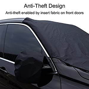 "Lasuavy Magnetic Windshield Cover with Side View Mirror Protector for Ice and Snow - Extra Large & Thick Windproof Design Fits Most Car, SUV, Truck and Van - 84.6"" x 49.2"""