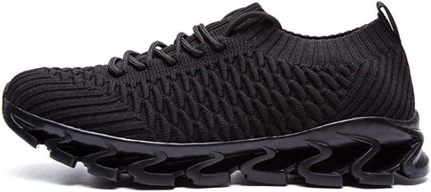 Zapatos de Running de los hombres, volando zapatos de deportes tejidos antideslizante resistente al desgaste transpirable malla desodorante plantillas al aire libre zapatillas de Running,Black,42: Amazon.es: Hogar