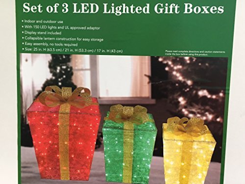 3pc Lighted Snowflake Glittering Christmas Gift Boxes Presents Outdoor Christmas Decor by Good Tidings (Image #2)