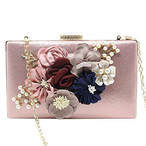 Wiwsi Black Prom Evening Purse Floral Clutch Handbag Box Pink Women Hard Bag Bridal Lady 7xnwfAqr7