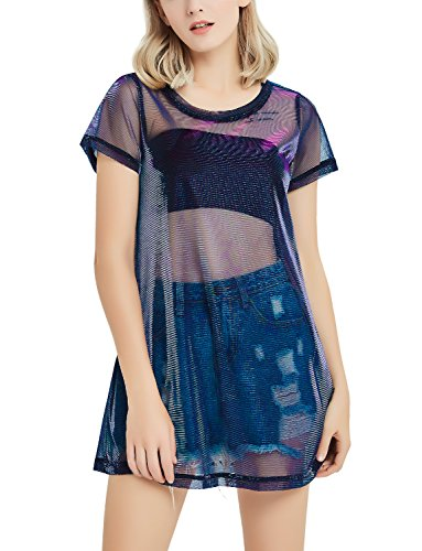 67c6b272dc1 Perfashion Holographic Mesh Dress Metallic See Through T-Shirt Dress Women