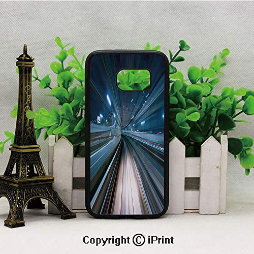 Monorail Drop - Motion Blur of City and Tunnel Moving Monorail in Tokyo Futuristic Transportation Samsung Galaxy S7 Case Hard Back Shock Drop Proof Impact Resist Protective Case for Samsung S7 Dark Blue Tan