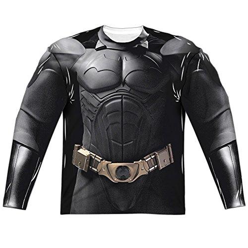Trevco Men's Batman Begins Costume Two Sided L/S Allover T-Shirt, White, XXX-Large