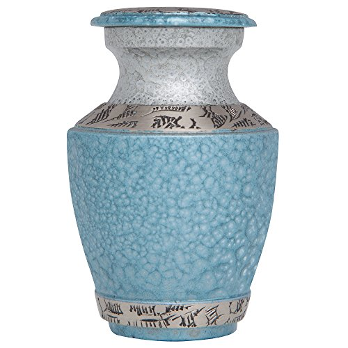 Mini Keepsake Urn • Miniature Funeral Cremation Urn fits Small Amount of Ashes • Azure Blue Model • 3 inches Tall