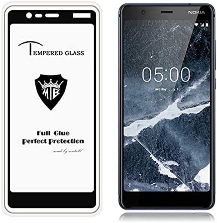 GUOHUN Screen Protector Protective 25 PCS MIETUBL Full Screen Full Glue Anti-Fingerprint Tempered Glass Film for Nokia 3.1 Black Glass Film Color : Black