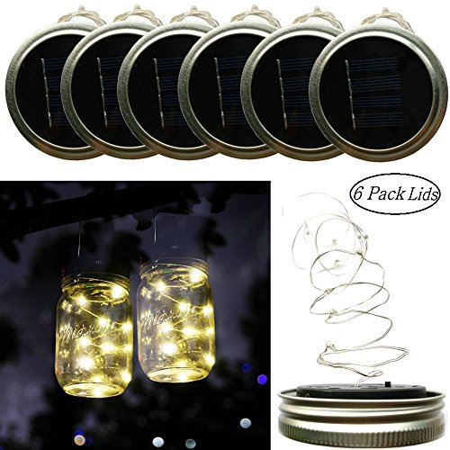 Solar Lights Garden Decor Mason Jar Lids Insert String Lights (6 PCS), 10 LED Bulbs Starry Fairy String Lids Lights Fit for Regular Mouth Mason Jars, Warm White Only Cover(Jar & Handle Not (Trike Canvas)