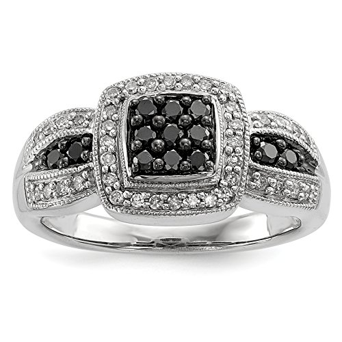ICE CARATS 925 Sterling Silver Black Diamond Square Band Ring Size 8.00 Fine Jewelry Gift Set For Women Heart by ICE CARATS