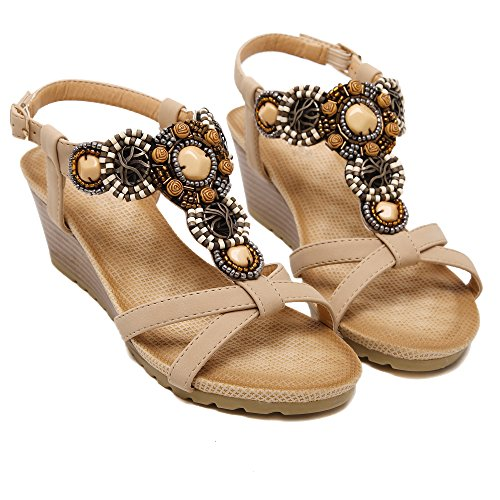 Styles Women's Shoes apricot Sandal Sole Beaded of Bohemia Rhinestones Colorfulworld Slip Bdw64qzz