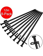 BareFour 12-Inch Tent Stakes, Heavy Duty Camping Stakes, Forged Steel Tent Pegs Unbreakable and Inflexible, Available in Rocky Place Dessert Snowfield and Grassland (Black)