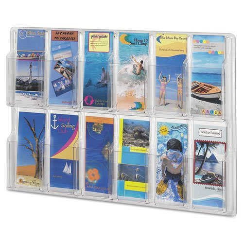 (Reveal Clear Literature Displays, 12 Compartments, 30 w x 2d x 20 1/4h, Clear)