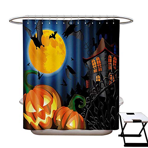 BlountDecor Halloween Shower Curtains Fabric Extra Long Gothic Halloween Haunted House Party Theme Design Trick or Treat for Kids Print Bathroom Set with Hooks W72 x L96 Multicolor]()